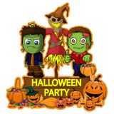 Halloween poster design with vector Frankenstein, scarecrow and zombie characters. File in layers and editable. Objects are drawn separately royalty free illustration
