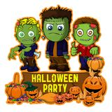 Halloween poster design with vector Frankenstein and zombie characters Stock Images
