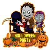 Halloween poster design with vector killer with mask, zombie, dark reaper character.  stock illustration