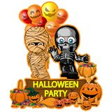 Halloween poster design with vector mummy with balloons and skeleton characters. File in layers and editable. All objects are drawn separately Royalty Free Stock Photos
