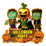 Halloween poster design with vector zombie, Frankenstein and Pumpkin Cartoon Characters Royalty Free Stock Photo