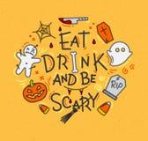 Halloween poster flat mustard Royalty Free Stock Photos