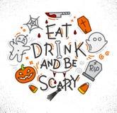 Halloween poster flat Royalty Free Stock Image