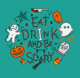 Halloween poster flat turquoise Royalty Free Stock Photography