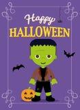 Halloween Poster Frankestein Costume Stock Photos