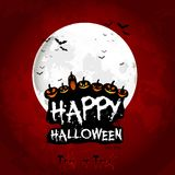 Halloween poster on full moon with face of pumpkins Royalty Free Stock Images