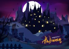 Halloween poster, ghost castle palace fantasy vintage grunge brush night scene horror design abstract background vector. Illustration vector illustration