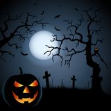 Halloween poster with grinning pumpkin and ghostly background. Vector eps 10 Royalty Free Stock Photo