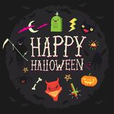 Halloween poster with happy halloween wishes and spooky faces vector illustration