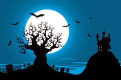 Halloween Poster - Haunted House And Evil Tree. Illustration of a halloween poster background, with haunted house, graveyard Stock Photo