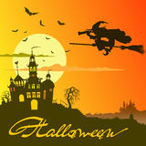 Halloween poster. Holiday poster halloween on an orange background Royalty Free Stock Photo