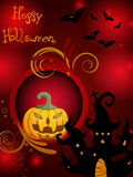 Halloween poster. Illustration of a funny pumpkin on an abstract halloween background Royalty Free Stock Images