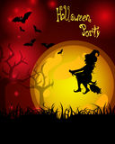 Halloween poster. Illustration of a witch and bats on an abstract background Royalty Free Stock Photo