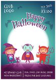 Halloween poster with kids in costumes of witch, vampire and devil for Happy Halloween party. On dark blue background. With full moon. For posters, banners royalty free illustration