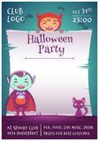 Halloween poster with little kids in costumes of devil and vampire with black kitten. Happy Halloween party. Editable. Halloween poster with little kids in stock illustration