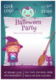 Halloween poster with little kids in costumes of witch and vampire with black kitten and broom. Happy Halloween party. Halloween poster with little kids in vector illustration