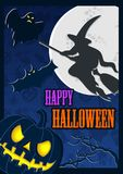 Halloween poster with moon and scary flying witch royalty free illustration