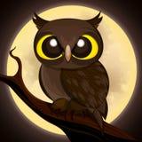 Halloween poster owl. Cartoon owl on moon background.Halloween poster.Vector illustration Royalty Free Stock Image
