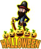 Halloween Poster with Pirate Royalty Free Stock Image