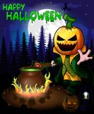 Halloween poster with Pumpkin Cartoon Characters in forest. Vector ilustration. File in layers and editable. All objects are drawn separately Stock Photos
