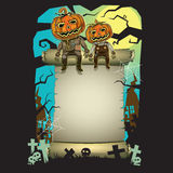 Halloween Poster and Pumpkin head. Stock Images
