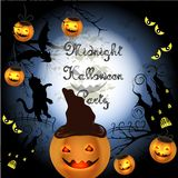 Halloween poster with pumpkin for party and disco design Royalty Free Stock Photography