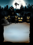 Halloween poster. Scary farmhause in the woods - Halloween poster with copyspace Stock Photo