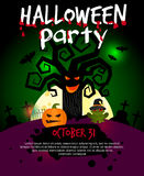 Halloween poster with scary old tree stock illustration
