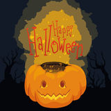 Halloween Poster with Shining Pumpkin on Spooky Background Royalty Free Stock Image
