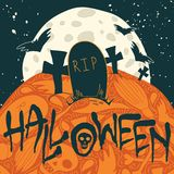 Halloween poster with silhouettes of gravestones Royalty Free Stock Image
