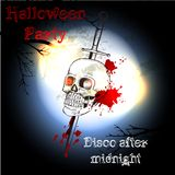 Halloween poster with skull  for party and disco design Royalty Free Stock Photo