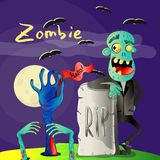 Halloween poster with zombie near rip gravestone Stock Photo