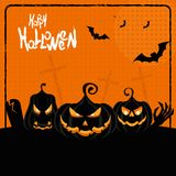 Halloween poster three pumpkins Stock Image