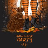 Halloween poster with witch legs in boots and broomstick Stock Photo