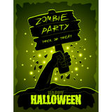 Halloween poster zombies hand and wooden sign Royalty Free Stock Photos
