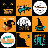 Halloween posters collection vector illustration