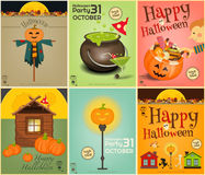 Halloween Posters Set Stock Photo