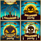 Halloween Posters set. Vector illustration. night holiday Royalty Free Stock Images