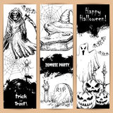 Halloween posters with sketched black elements royalty free illustration