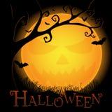 Halloween-Postkarte mit einem ominösen Mond Lizenzfreies Stockfoto