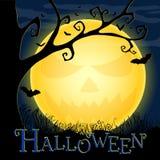 Halloween-Postkarte mit einem ominösen Mond Lizenzfreie Stockbilder