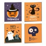 Halloween-Postkartensatz Halloween-Parteiflieger Halloween-Fahnen mit Kürbis, Katze, Schädel schlägt Halloween-Hintergrund für De vektor abbildung