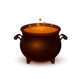 Halloween pot with potion and bubble Royalty Free Stock Photography