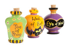 Halloween potion ingredients ceramic containers Stock Image