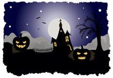 Halloween-prentbriefkaar vectorillustratie Stock Fotografie