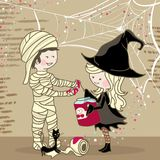 Halloween Preparation. Boy and Girl preparing for Halloween party Stock Photography