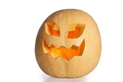 Halloween - presa-o-lanterna della zucca su fondo bianco Fotografie Stock Libere da Diritti