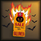 Halloween Price Sticker With Bats. Sale sticker on the grey background Royalty Free Stock Image