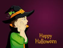 Halloween.Profile of a very surprised little boy in hat and witch. Costume . wow. Vector. Free space for text or advertising. Greeting card or invitation for Stock Photos