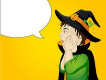 Halloween.Profile of a very surprised little boy in hat and witch. Costume . wow. Vector. Free space for text or advertising. Greeting card or invitation for Royalty Free Stock Image